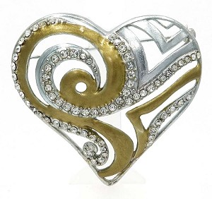 Chicos Two Tone Have A Heart Charity Pin