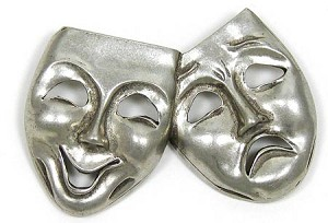Vintage Pewter Comedy And Tragedy Pin