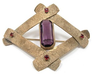 Antique Purple Amethyst Glass Criss Cross Sash Pin