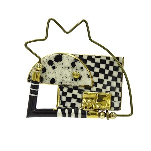 Jewelry 10 Black And White Modernist Abstract Brooch Cynthia Chuang