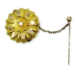Antique Edwardian Flower Brooch With Safety Stick Pin