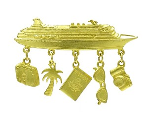 Vintage Gold Plated Pewter Cruise Ship Vacation Pin By JJ
