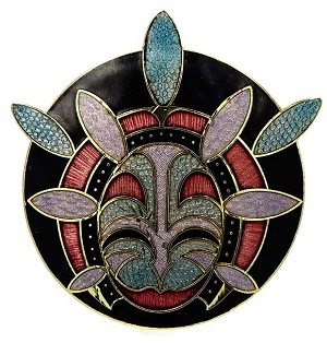 Vintage Barbara Lavallee Enamel Inuit Tribal Mask Pin