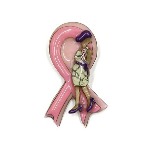 Lucinda Pink Ribbon Lady With Purple Accessories Pin