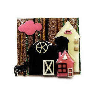 Lucinda Pink And Black Farmhouse With Cow Pin
