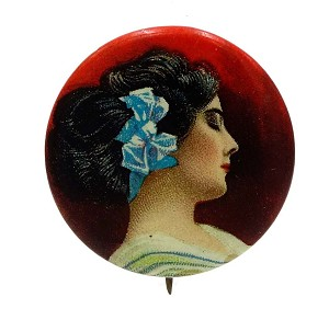 Antique Pretty Lady Celluloid Cigarette Premium Pinback Pin