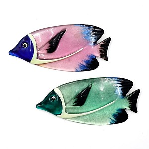 Vintage Colorful And Big Resin Fish Brooches