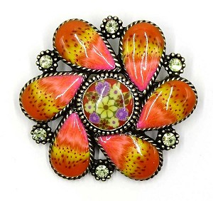 Nicely Detailed Flower Pin With Resin Petals And Rhinestones