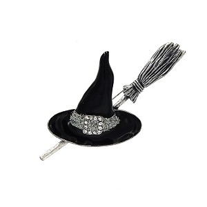 Vintage Witch Hat And Broom Pin With Enamel And Rhinestones