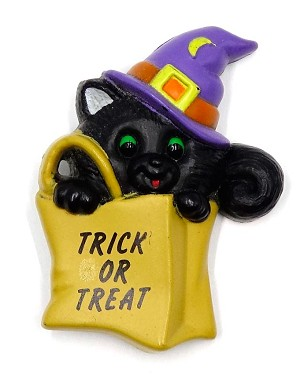 Vintage Trick Or Treat Halloween Cat Pin By Russ
