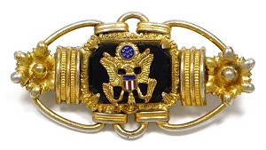 Army Seal Black Glass Gold Sweetheart Pin