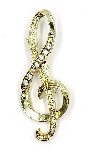 Gold Rhinestone Treble Clef Pin By Gerrys
