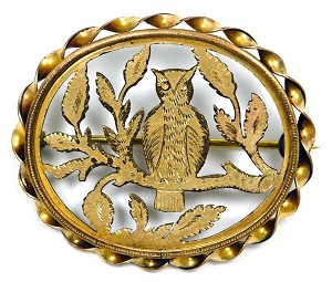 Antique Victorian Cut Out Owl Pin