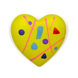 Vintage Hand Painted Yellow Heart Pin 1980's