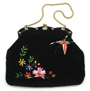 Vintage Black Beaded Embroidered Floral Butterfly Purse