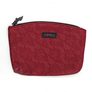 Spellbound Crimson Lace With Bat Pull Cosmetic Bag By Ipsy