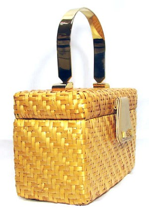 Vintage Koret Wicker And Gold Purse