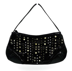 Black Leather With Silver And Gold Studs Purse By Via Spiga