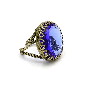 Vintage Large Cobalt Blue Glass Stone Ring West Germany