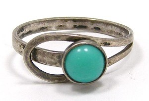 Vintage Turquoise And Sterling Mexico Ring