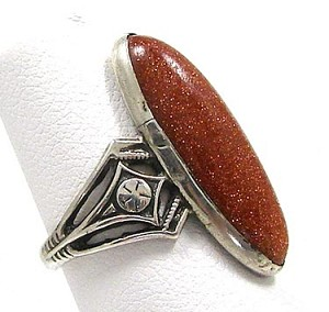 Antique Victorian Goldstone Sterling Ring