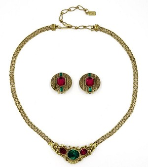1928 Jewelry Co. Ruby And Emerald Rhinestone Revival Set