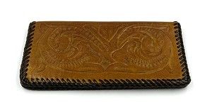 Vintage Tooled Leather Wallet Or Checkbook Cover