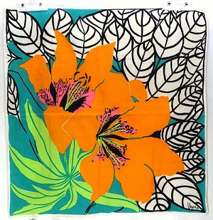 Vintage Bright Orange Lily Scarf By Vera