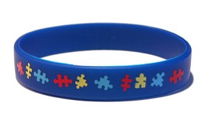 Dark Blue Autism Puzzle Wristband - Adult