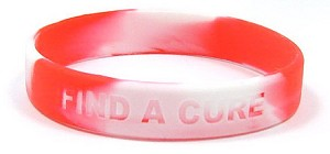 Red And White Find A Cure Wristband