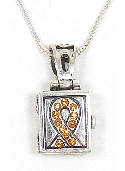 Sterling Yellow Crystal Ribbon Prayer Box Necklace