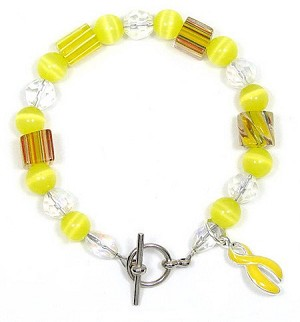 Yellow Ribbon Beaded Bracelet