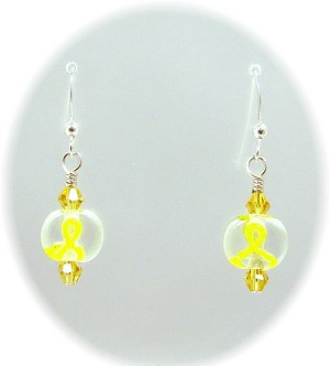 Yellow Ribbon Lampwork Earrings