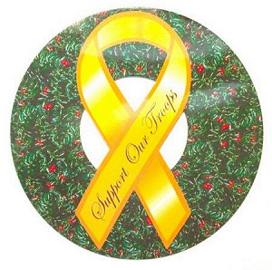 Support Our Troops Christmas Wreath Magnet